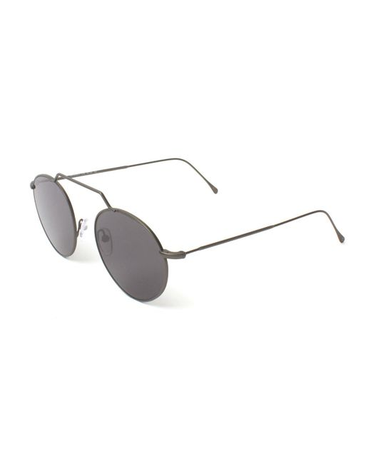 3c26dd54202 Lyst - Illesteva Round Geometric Bar Mirrored Sunglasses in Gray