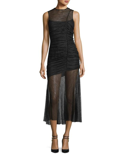 Camilla & Marc - Black Plaza Lace Sheer Ruched Gown - Lyst