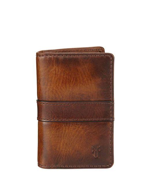 Frye - Brown Oliver Tall Leather Bi-fold Wallet for Men - Lyst