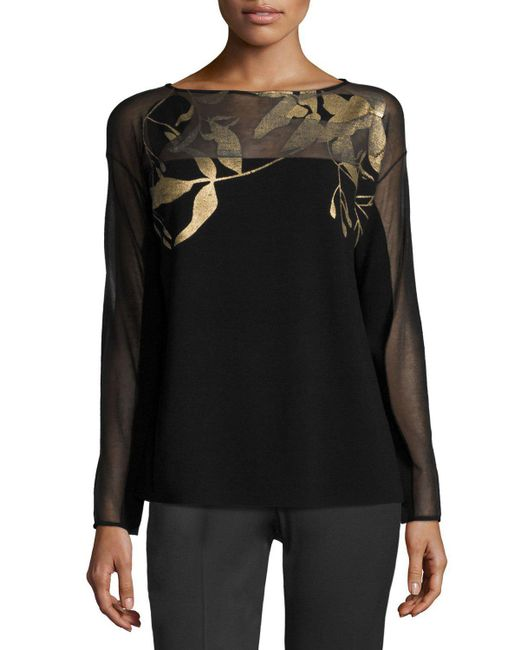 Lafayette 148 New York - Black Semi-sheer Bateau-Neck Jacquard Lace Sweater - Lyst