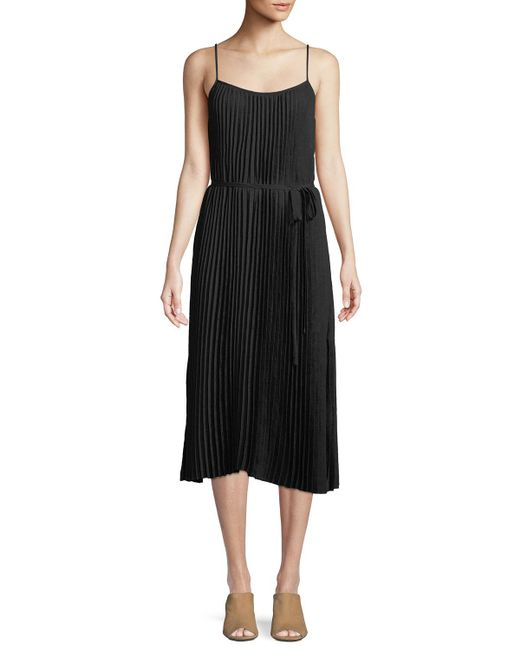 Vince - Black Pleated Cami Midi Dress - Lyst