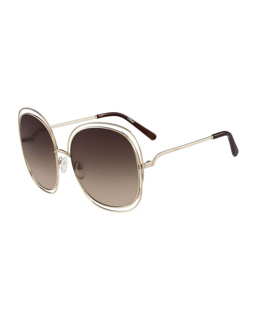 1b81112793f Lyst - Chloé Carlina Trimmed Round Sunglasses in Metallic - Save ...