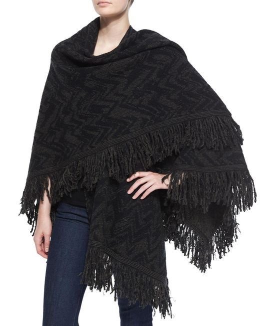 Nude - Multicolor Chevron Wool Shawl W/ Fringe - Lyst