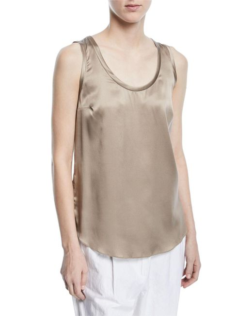 Brunello Cucinelli - Brown Silk-stretch Reversible Scoop-neck Tank Top - Lyst