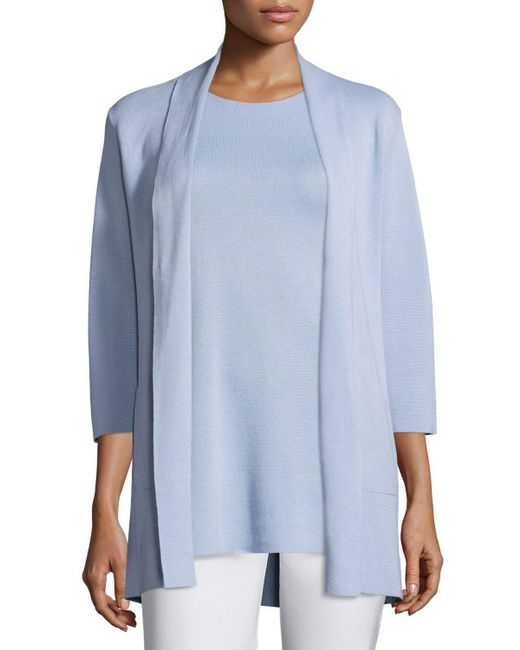 Eileen Fisher - Blue 3/4-sleeve Silk-cotton Interlock Cardigan - Lyst