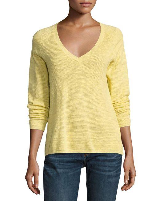 Eileen Fisher | White V-neck Organic Linen/cotton-blend Slub Top | Lyst