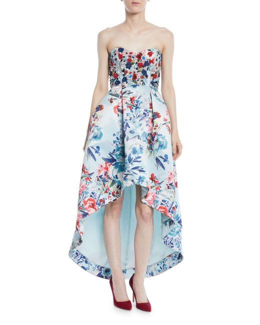Parker Black - Blue Roxanne Strapless High-low Floral-print Gown W/ Beaded Bodice - Lyst