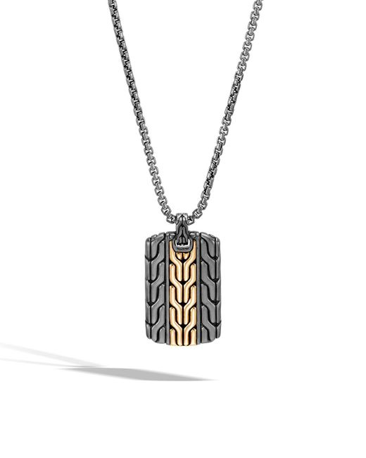 John Hardy - Metallic Men's Classic Chain Dog Tag Necklace With Rhodium & 18k Gold for Men - Lyst