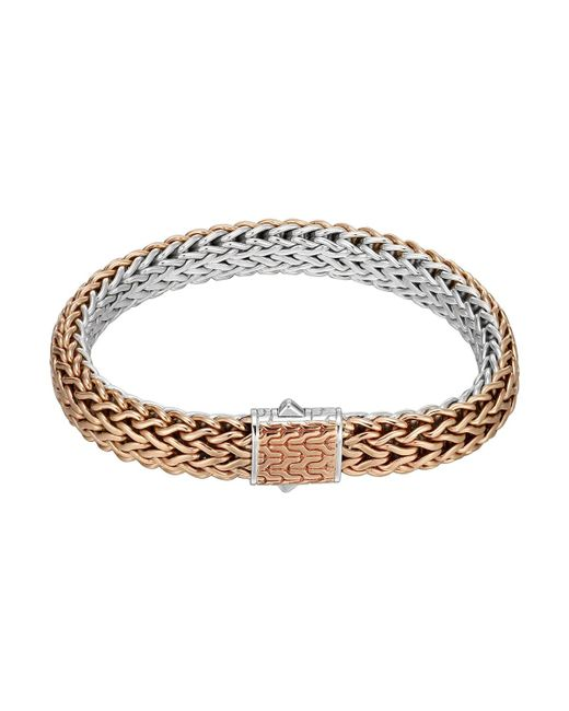 John Hardy - Metallic Bronze/silver Reversible Woven Chain Bracelet - Lyst