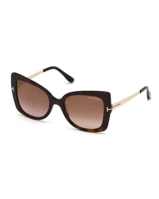 Tom Ford - Brown Gianna 02 Metal & Plastic Butterfly Sunglasses - Lyst
