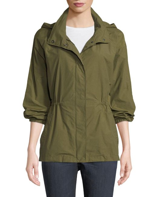 Eileen Fisher - Green Organic Cotton-nylon Utility Jacket With Hidden Hood - Lyst