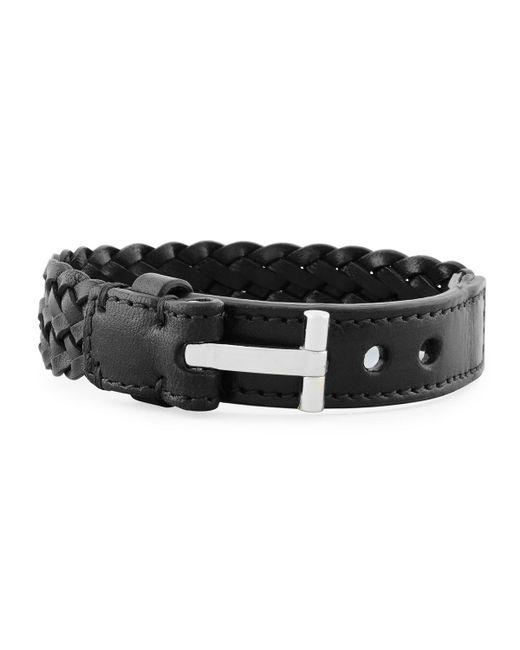 Tom Ford | Black Men's Braided Calf Leather T-buckle Bracelet for Men | Lyst