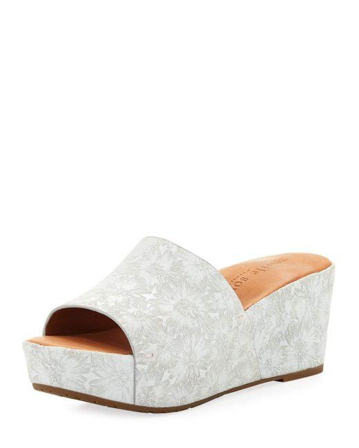 Gentle Souls - White Forella Floral Wedge Platform Slide Sandals - Lyst