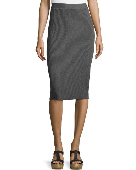 Eileen Fisher | Gray Washable Wool Ribbed Pencil Skirt | Lyst