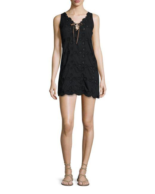 Letarte | Black Doily Sleeveless Crocheted Shift Dress | Lyst