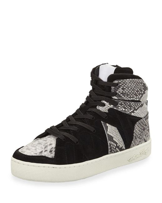 Haculla - Black Men's Henri High-top Sneakers With Python-print Trim for Men - Lyst