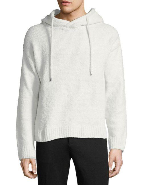 ATM - White Chenille Hooded Pullover Sweater for Men - Lyst