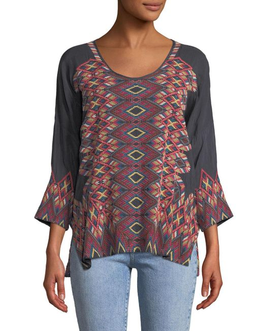 Johnny Was - Multicolor Moni 3/4-sleeve Embroidered Blouse Plus Size - Lyst
