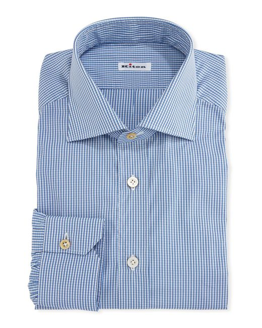 Kiton - White Micro-check Cotton Dress Shirt for Men - Lyst
