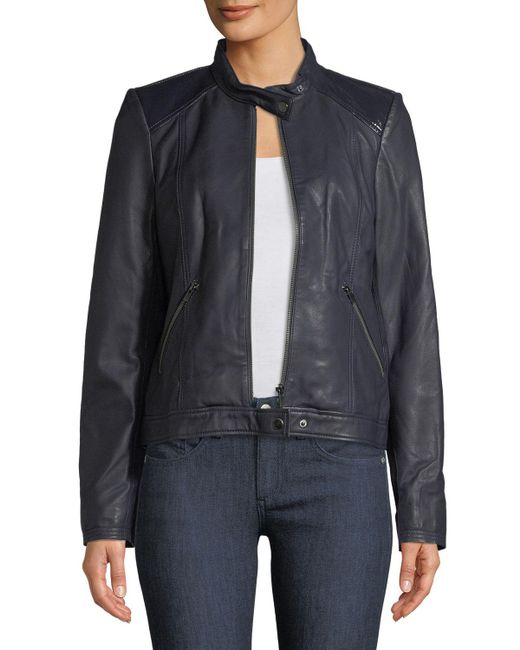 Neiman Marcus - Blue Patent Leather-trim Leather Jacket - Lyst