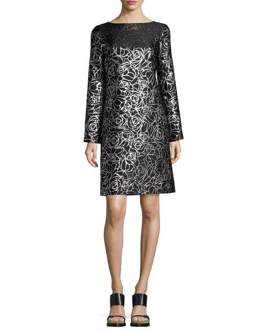 Michael Kors - Black Metallic Floral Jacquard Long-sleeve Shift Dress - Lyst