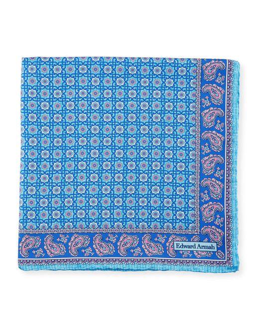 Edward Armah | Blue Neat Medallion Pocket Square for Men | Lyst