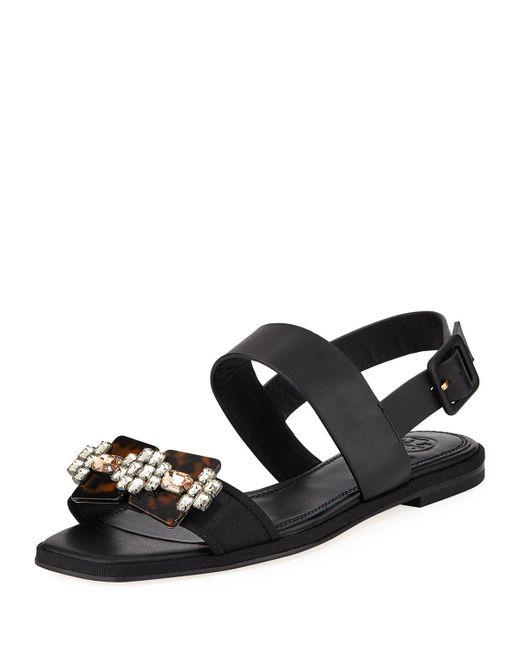 Tory Burch - Black Delaney Embellished Leather Sandal - Lyst