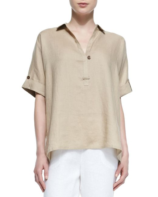 Go> By Go Silk - Natural Oversized Short-sleeve Linen Tunic - Lyst