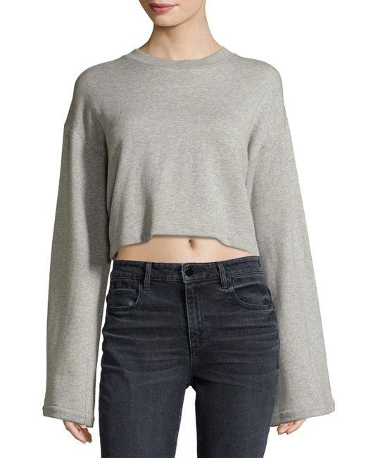 T By Alexander Wang | Gray Tie-back Long-sleeve Sweatshirt | Lyst
