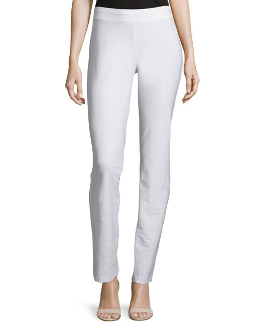 Eileen Fisher - White Washable Crepe Slim Boot-cut Pants - Lyst