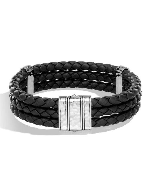 John Hardy - Black Men's Classic Chain Leather Triple Row Bracelet for Men - Lyst