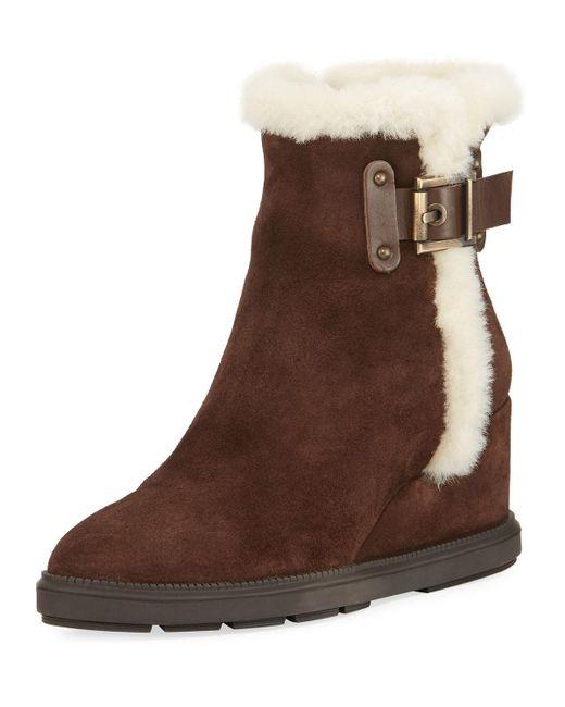 Aquatalia - Brown Caitlyn Fur-trim Wedge Boot - Lyst