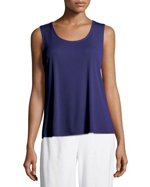 Eileen Fisher - Blue Stretch Silk Jersey Scoop-neck Tank Top Petite - Lyst