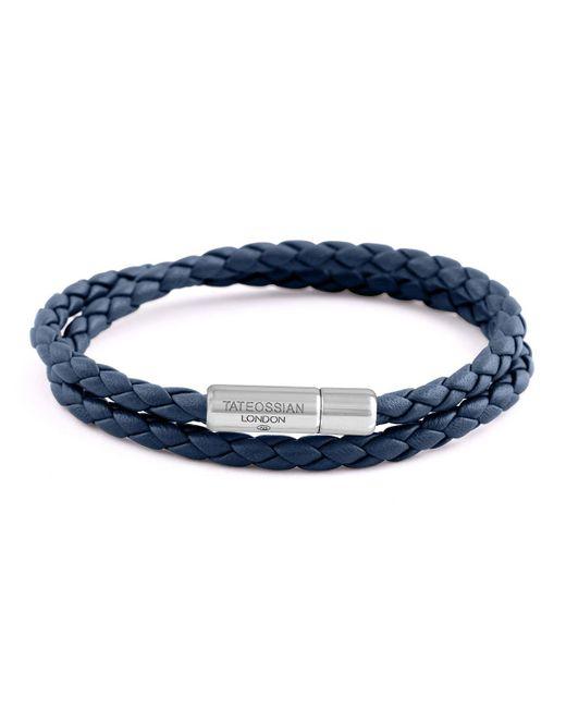 Tateossian - Blue Men's Braided Leather Double-wrap Bracelet Size M Navy for Men - Lyst
