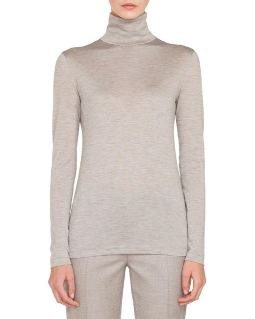 Akris - Gray Turtleneck Long-sleeve Cashmere-silk Jersey Pullover Top - Lyst