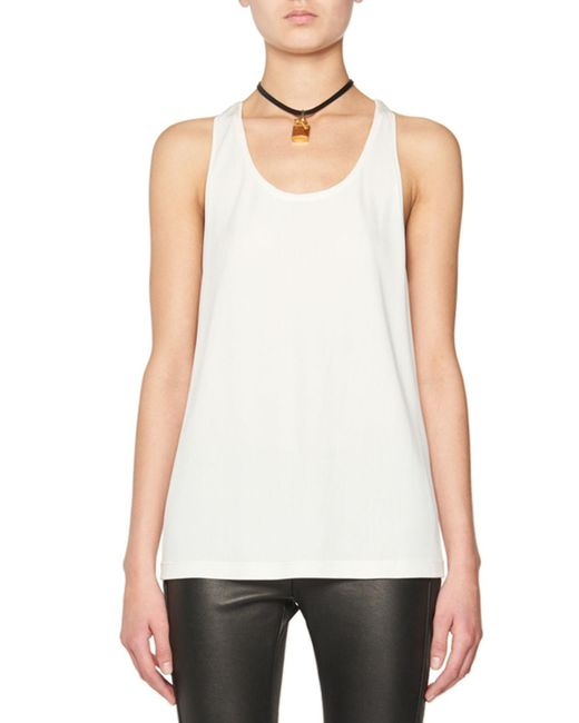 Tom Ford - White Scoop-neck Tank W/leather Padlock - Lyst