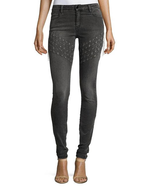 Brockenbow | Gray Plaza Emma Chain Embroidered Skinny Denim Jeans | Lyst