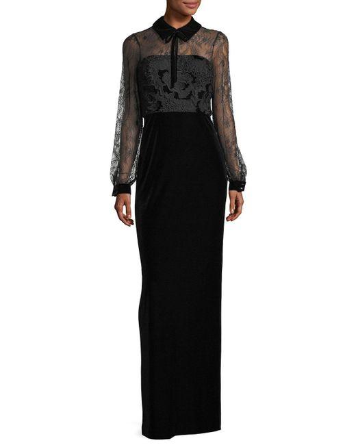 Badgley Mischka   Black Collared Lace-top Velvet Evening Gown   Lyst