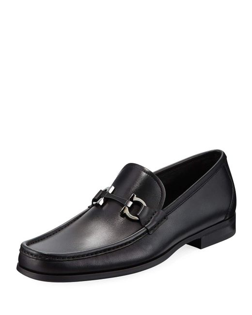 Ferragamo - Black Grandioso Gancini-bit Leather Moccasin Loafer for Men - Lyst
