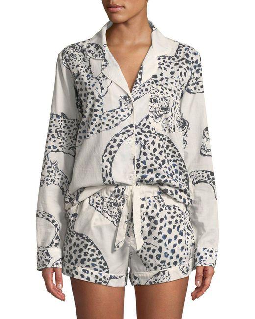 Desmond & Dempsey - Black Leopard Print Classic Short Pajama Set - Lyst
