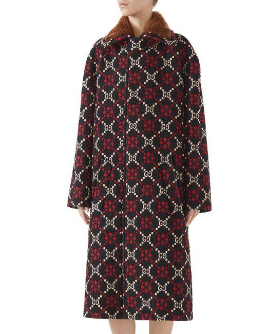 f01068bdcd57 Gucci - Multicolor GG Jacquard Single-breasted Calf-length Wool Coat - Lyst