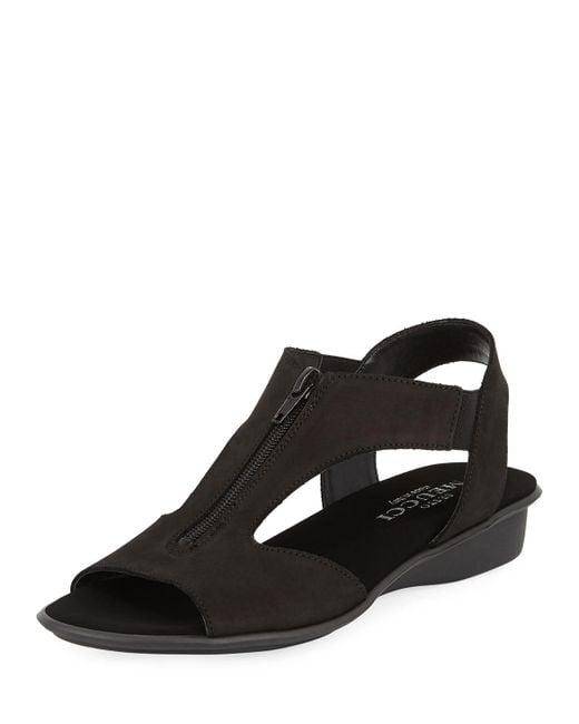 Sesto Meucci - Black Eliso Zip Flat Comfort Sandal - Lyst