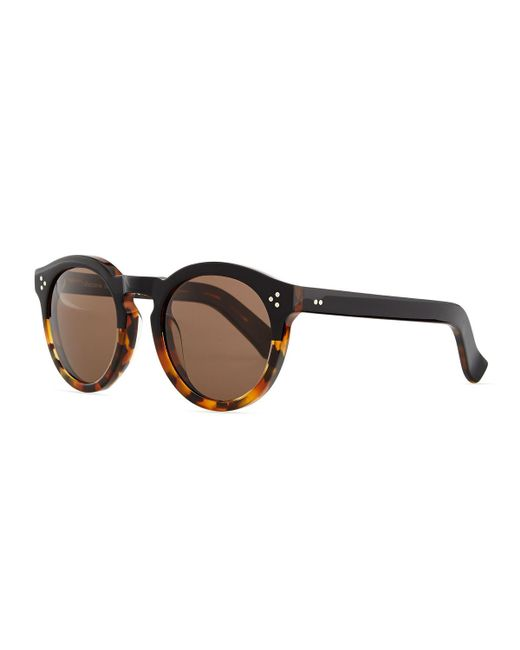 Illesteva   Blue Leonard Round Half & Half Sunglasses   Lyst