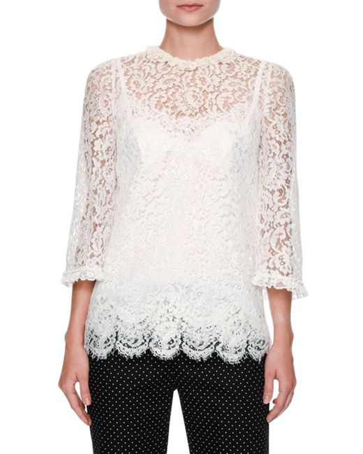 Dolce & Gabbana | White Floral-lace 3/4-sleeve Ruffled Blouse | Lyst