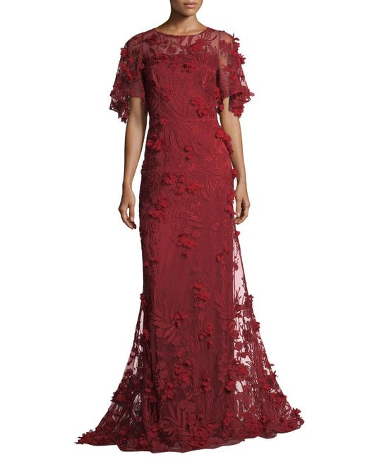 David Meister | Red 3-d Floral Short-sleeve Evening Gown | Lyst