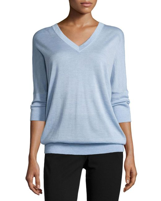 Derek Lam - Blue 3/4-sleeve V-neck Sweater - Lyst