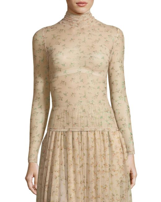 Brock Collection - Natural Tracey Turtleneck Sheer Floral-print Top - Lyst