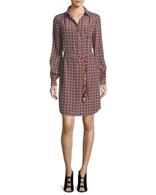 Trina Turk | Multicolor Fairfax Foulard Long-sleeve Printed Shirtdress | Lyst