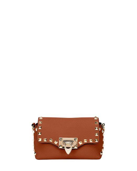 Valentino - Brown Rockstud Mini Leather Crossbody Bag - Lyst