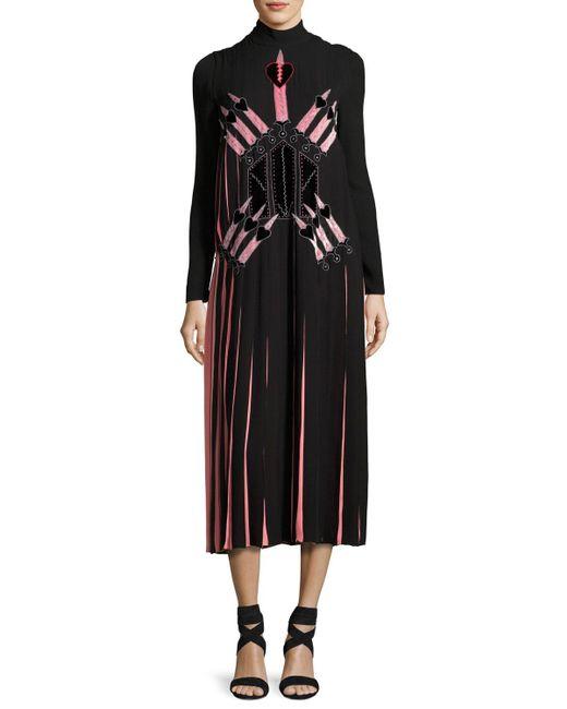 Valentino | Black Love Blade Pleated Long-sleeve Dress | Lyst